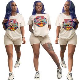 Steint-shirts online-2019 Sommer Frauen Trainingsanzug Streetwear Kurzarm T-Shirt + Shorts 2 Stück SET Hip-Hop Rolling Stones Brief Outfit Sportswear heißen A3232