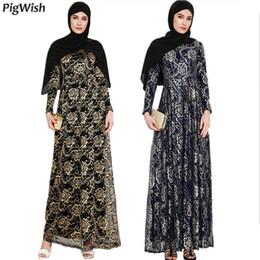 vestido de noche árabe dubai Rebajas 2018 Abaya vestido de fiesta musulmán de noche islámico adulto encaje manga larga moda floral marroquí Kaftan árabe Dubai vestidos