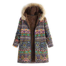 Mujeres Boho abrigos de invierno de impresión Vintage espesar felpa chaquetas de algodón de manga larga chaquetas Outwear femenino desde fabricantes