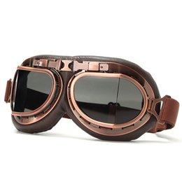 Capacete piloto Vintage Steampunk cobre motocicleta Scooter Helmet Óculos óculos anti UV de Fornecedores de óculos terra