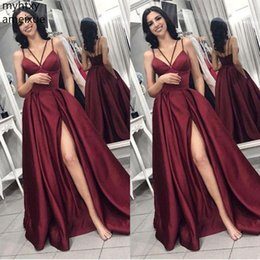 very red dress Coupons - Cheap Very Much Sexy Long Prom Dress 2019 V Neck Spaghetti Straps Burgundy Sweep Train Formal Wine Red Plus Size Hi Low Dress