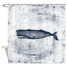 Tende scure online-Tenda dell'acquazzone del tessuto decorativo blu scuro d'annata della balena