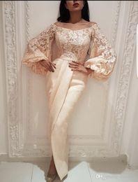 2019 пышные рукава платья выпускного вечера Pregant вечерние платья с плеча с длинными рукавами Саудовская Арабская Дубай Леди вечернее платье от Поставщики нигерия платье стиль изображения