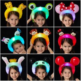lila partei gläser Rabatt Nettes Baby Stirnband Spielzeug Haarband Party Ballon LED-Blitz Cartoon Tierhaarbänder Kopfbedeckungen Familie Mädchen Junge Kinder Haarschmuck Kopfschmuck