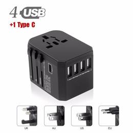 Euro-stecker-ladegerät online-USB-Netzsteckeradapter (Typ C) 5 USB-Anschlüsse (4 USB-Ladegeräte vom Typ A + 1Typ C) - für Steckdosen des Typs I C G A EU Euro US UK