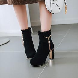bota de tornozelo franjas de salto alto Desconto Hot vendas mulheres sapatos de salto alto grosso Ankle boots moda franja botas de inverno camurça de couro cor sólida mulheres dedo do pé redondo