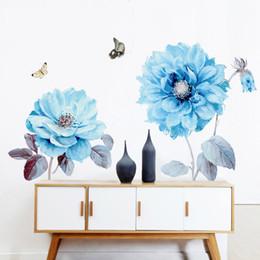 Blumen hintergrund tapeten online-Kreative 3D-Stereo-Blumen-Wand-Aufkleber Selbstklebende wasserdichte Wohnzimmer Schlafzimmer Dekoration Hintergrund-Tapete