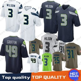 624cb3715 jerseys seattle Promo Codes - 49 Shaquem Griffin 3 Russell Wilson Seattle  Jerseys Seahawks 12s 12th