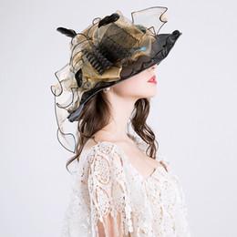 Sombreros de moda de verano Organza Sombreros para el sol para las mujeres  Elegantes Laides Iglesia Vintage Hat Wide Large Brim With Big Flower  D19011103 41f031084c7