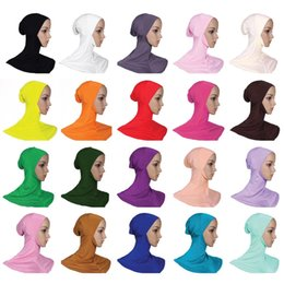 daily hats Promo Codes - 20 Colors Upgrade Muslim Women Cover Inner Hijab Scarves Woman Solid Color Plain Underscarf Cap Scarf Mercerized Cotton Ladies Hat