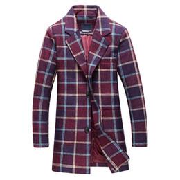 Blazers de mode d'hiver pour hommes en Ligne-Hiver Nouvelle Arrivée Mode Hommes Loisirs Grille Longue Trench-Coat La veste de l'homme Blouson Blazer Trench-Coats