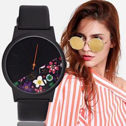 2019 orologi stampati floreali Guarda le donne alla moda semplice senza scala casual stampa floreale quadrante cintura orologio da polso Zegarek Saat quarzo Reloj Mujer orologi femminili sconti orologi stampati floreali
