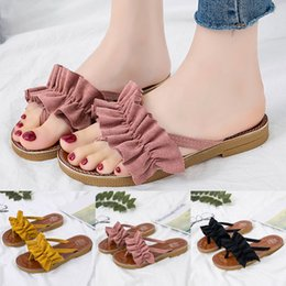 bow jelly wholesale Promo Codes - Fashion Ladies Slippers Flat Jelly Shoes Bow V Toe Sandals Beach Shoes Summer Rivet Slippers Thong Chanclas Mujer#20