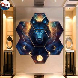 Dipinti da sogno online-Dream Catcher di JoJoes Art 7 Pezzi Lupo Mannaro Stampe su tela Pittura Arte della parete Immagini modulari Quadri decorativi moderni