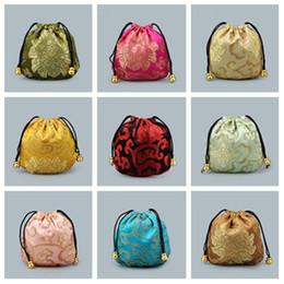 Bolsas calientes chinas online-Hot 11 * 11 cm bordado xiangyun bolso de la joyería del estilo chino bolsa de artículos de jade cuentas de Buda regalo bolsa T2C5015