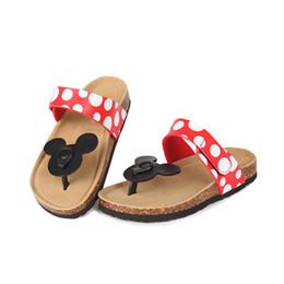 Algodão mickey on-line-Algodão dos desenhos animados de Mickey macio Mulheres chinelos cute adorável mulher Sandálias da praia sapatos Plus Size 43 Y200106