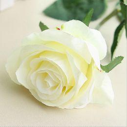 Gefälschte blaue rosen online-1 stück Silk Roses Künstliche Blumen Hochzeitsdekoration Gefälschte Blumen Weiß Blau Grün Rosa Rot Lila Künstliche Seidenblumen Rosen