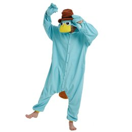 Blue Fleece Unisex Perry the Platypus Costume Onesies Mostro Cosplay Pigiama Adulto Pigiama Animale Sleepwear Tuta da pigiami a pelo blu fornitori