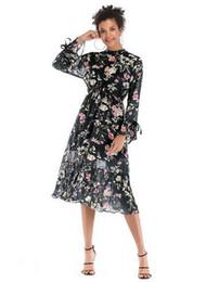 295d32fc740ee 2019 New Fashion Women s Dresses New Long Sleeve Tie Chiffon Skirt  Multicolored Medium-long Pendulum Flower Dresses