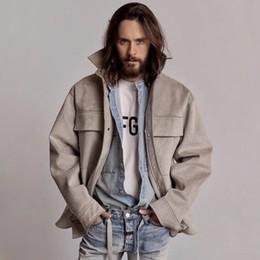 Простые куртки мужчины онлайн-19ss страх Божий туман 6-я замша рубашка Ultrasuede куртки Мужчины Женщины Повседневная улица хип-хоп куртка простое пальто мода верхняя одежда HFLSJK330