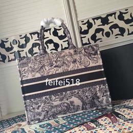 riciclare la confezione regalo Sconti borse di cuoio casuali di modo di alta qualità delle donne hanno stampato la tela con ricamo le borse della borsa della spesa della borsa della pelle bovina D4