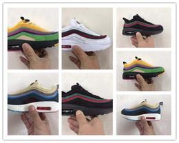 Zapatos de lentejuelas de cristal online-NIKE AIR MAX shoes niños niñas 87 zapatos Zapatos para niños pequeños Blanco Rojo Rosa Cristal Lentejuelas blancas zapatillas de deporte de ciudad calcetines Zapatillas para correr