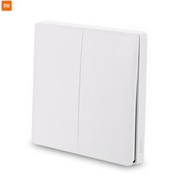 2019 interruptor de luz doble control remoto Original Xiaomi Aqara Interruptor de pared Control de luz inteligente Interruptor inteligente Wifi 2.4 GHz Control remoto inalámbrico de doble clave de Mi Home App interruptor de luz doble control remoto baratos