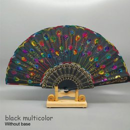 Костяной дом онлайн-Art Folding Peacock Tail Feather Plastic Bone Sequins Carved Hand Fan Summer Accessory Crafts Print Home Decor Embroidery