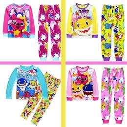78c986fb2e2ed 4 couleurs enfants INS bébé requin costumes pyjamas filles garçons coton dessin  animé à manches longues T-shirt + pantalon 2 pcs ensembles bébé vêtements  ...