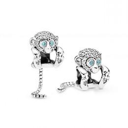 Deutschland Authentische 925 Sterling Silber Bead Charm eine lange Schlangenkette Schwanz funkelnden Affen mit Kristallperlen passen Pandora Armband Diy Schmuck supplier monkey bracelets Versorgung