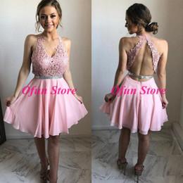 Короткое серебряное платье для особого случая онлайн-Lovely Lace A Line Розовые платья для выпускного вечера с V-образным вырезом и вырезом на спине шифоновое короткое платье для особых случаев с серебряной лентой