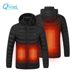 черный цвет Скидка Qiiwi Мужчины женщин Открытый подогреваемый пальто куртки USB электрическая батарея Быстрая Система отопления для холодной погоды термального одежда