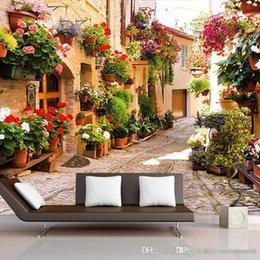 2019 sfondo stradale Fotomurale 3D Ameirican Euroupen Town tempo libero stile pastorale Town Road House con fiori per soggiorno TV divano sfondo 3d carta da parati sconti sfondo stradale