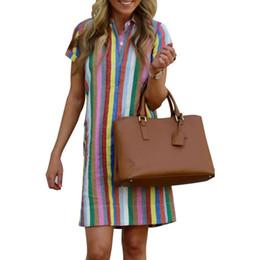 Saia de um botão on-line-Vestido das mulheres mini saia mangas curtas sexy one piece vestidos casual botão mulheres vestidos listrado vestidos confortável roupa feminina klw1015