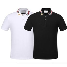 Abelha de bordar on-line-Primavera de luxo Itália Tee T-shirt do desenhista camiseta polo High Street Bordados Garter Snakes Little Bee Impressão Vestuário Mens Marca Polo