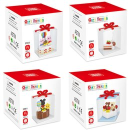 Assemblato creativo Puzzle Bambini Miniature Particelle di diamanti Building Blocks 2560-2563 Little Bear torta di compleanno serie giocattoli regali all'ingrosso da torta in miniatura all'ingrosso fornitori
