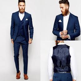 Smokings bleu foncé en Ligne-Tuxedos Groom Blue Gaysmen Vent Slim convient le mieux pour l'homme Costumes de mariage / Costumes pour les mariés Marié Porter (veste + pantalon + veste)