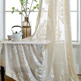 varões para cortinas Desconto Sheer Cortinas para Sala de estar Bordado Voile Janela Cortinas com Design Floral Quarto Cozinha Vintage Rod Bolso Painéis Taupe