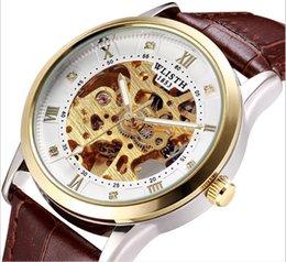 Wholesale Totalmente automático relógio mecânico à prova d água dupla face oco night light aço band fashion tendência relógio homem