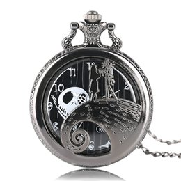 Jack skellington natale online-The Nightmare Before Jack Skellington Natale Tim Burton film Kid Toys orologi di moda nero Quarzt Pocket Watch Gifts Articolo