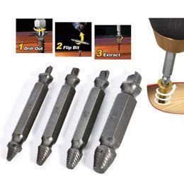 Attrezzo di avvitamento online-4PCS Broken Bolt Damage Screw Remover Extractor Drill Bits Easy Out Stud Tool