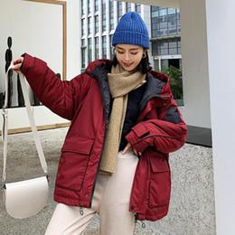 2020 coreano design casacos de inverno Parka Mulheres Jaquetas 2019 coreano Moda de Nova inverno quente com capuz Coats Parkas Feminino Ladies Pockets Design Roupa Exteriores Casual coreano design casacos de inverno barato