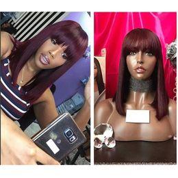 i capelli umani pieni del merletto rosso Sconti Ombre Red Bob Wigs con frangia 13x6 pizzo anteriore parrucche dei capelli umani Remy capelli lisci completo per le donne con botto capelli neri