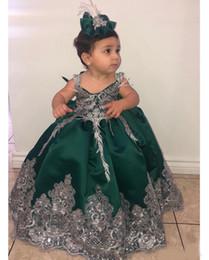 2019 imagens quentes menina vestidos curtos Verde escuro Lace Flower Girl Dresses vestido de baile de cetim menina vestidos de casamento do vintage Comunhão Pageant vestidos vestidos
