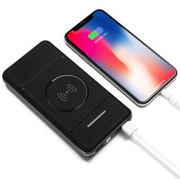 аккумуляторы мобильные iphone Скидка Беспроводная быстрая зарядка Power Bank 10000mAh Внешний аккумулятор для iPhone Xiaomi Держатель мобильного телефона Стенд Powerbank 20000mAh