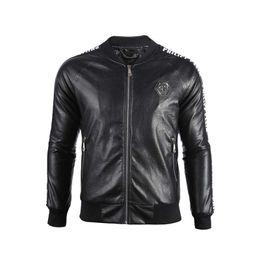 Leder schädel jacken herren online-2019 Men's jackets brand P men skulls Leather jacket hip hop Casual coat High Quality mens fashion luxury Fitness clothing Asia Size M-3XL