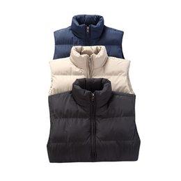 Parkas cáqui on-line-Homens Inverno Quente Vest Parkas Grosso Coats Preto gola mangas azul Khaki Masculino Coats Roupa descontraída