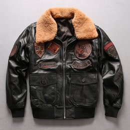 9682563c40b TED MENS US PARATROOPER flight bomber jackets black genuine leather jackets  Sheep leather jackets air force flight suit