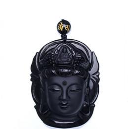 Canada Bijoux de rideau Obsidian Scrub Pendant Guanyin Noir Pendants Transhipping Bouddha Head Offre