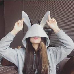 Al por mayor de las mujeres de largo con capucha mujeres de la camiseta de las mujeres del puente gris claro oídos de conejo lindo B100758Z desde fabricantes